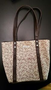 LONGABERGER Homestead Purse Tote Lunch Bag Beige Maroon Floral Pattern Snap Top