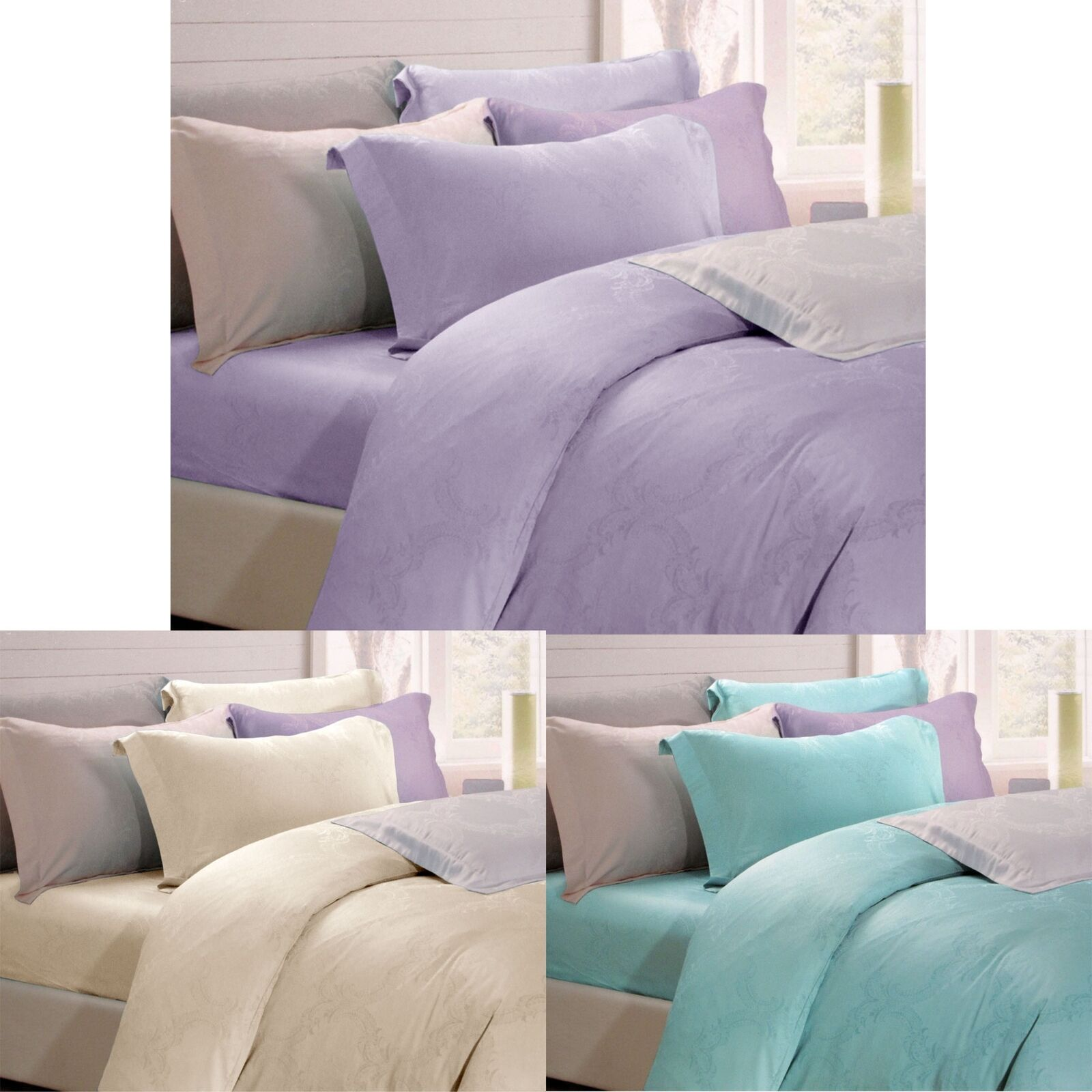 6 Pce 900TC Pure Tencel Damask Jacquard Quilt Cover Set + Fitted + B covers