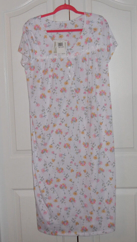 Aria Cotton Blend Short Sleeve White Yellow Pink Flower Long Nightgown XL NWT