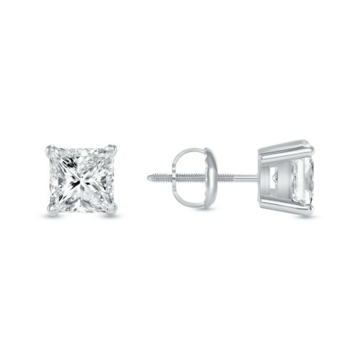 Details about  /2.25 Ct Princess Cut Earrings Studs Solid 18K White Gold Screw Back Basket
