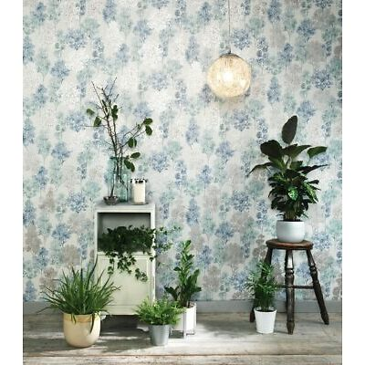 Soft Teal and Blue Intricate Tree Pattern Wallpaper - With Metallic Detailing