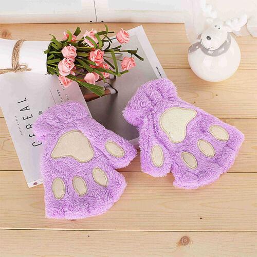 Winter Women Cute Cat Claw Paw Plush Mitten Short Fingerless Gloves Half Finger