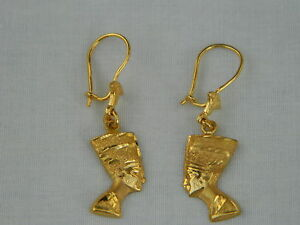 Image Is Loading Egyptian Queen Neferi Lotus 18k Yellow Gold Earrings