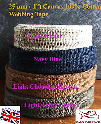 "25mm 1/"" Brown CANVAS Rainforced Heavy cotton Strap Webbing bag Belt x2Yards"