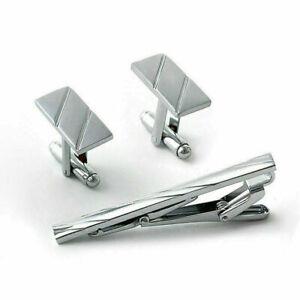 Men-Metal-Necktie-Tie-Bar-Clasp-Clip-Cufflinks-Set-Supply-Silver-Gift-Simpl-G3K6