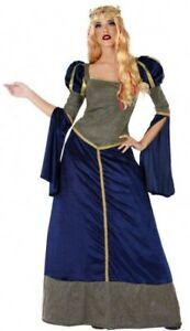 Uni Déguisement Dame Médiévale Bleu Femme Xs/s 36/38 Princesse Moyen Age Neuf