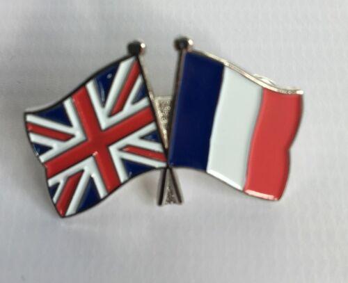 Metal Enamel Pin Badge Brooch Friendship Flags UK France British French English