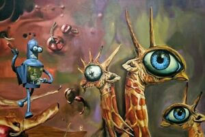 Original-Oil-Painting-40-034-x-64-034-Modern-Funny-Surrealism-034-SMOKE-BREAK-034-Europe