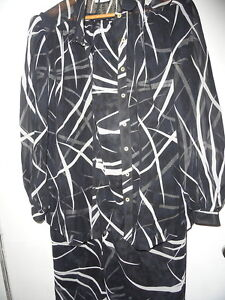 Wilroy-Traveler-Womans-Chiffon-2-Pc-Black-amp-White-Cruise-Dinner-Outfit-Sz-18-GUC