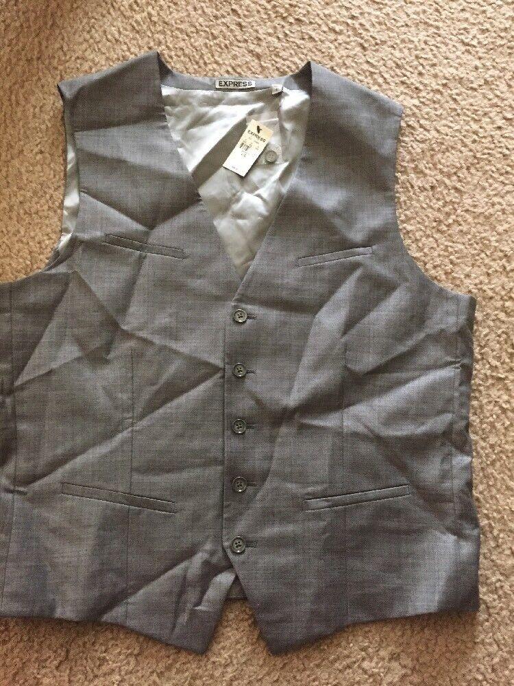 New Express Men Vest In Light Grey Size Large