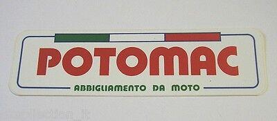 Romantico Vecchio Adesivo Moto / Old Sticker Potomac Abbigliamento Moto (cm 16 X 4,5) A Bianco Puro E Traslucido