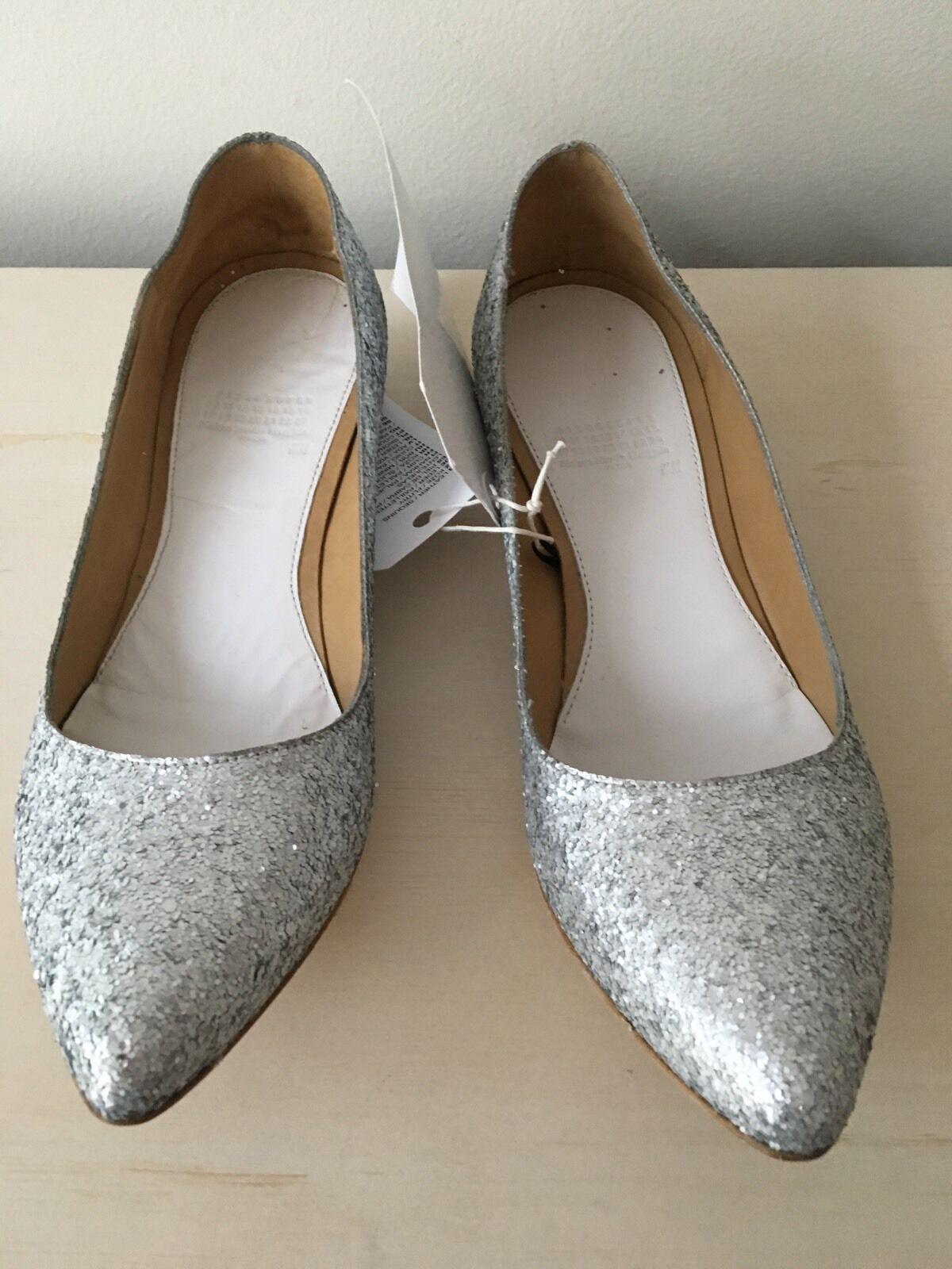 NIB Maison Martin Margiela H&M Silver Glitter Hidden Heels Heels Heels Flats 39/ US 8 ec15bd