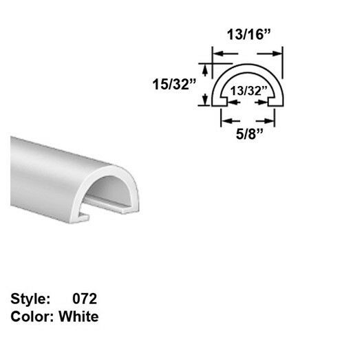 High-Temp. PTFE Plastic Half-Round Push-On Trim, Ht. 25 64  x Wd. 11 16  - 5 ft
