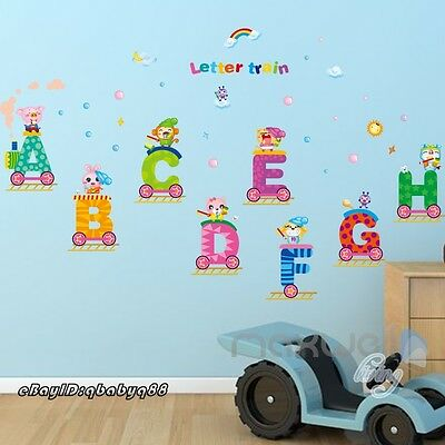 Alphabet Animal Train Cloud Wall decals Educational stickers kids nursery A to H