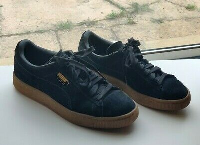 Puma Black Suede Gum Sole Trainers Size