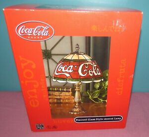 Vintage NIB 2000 Coca Cola Stained Glass Style Accent Lamp by ALSY NEW