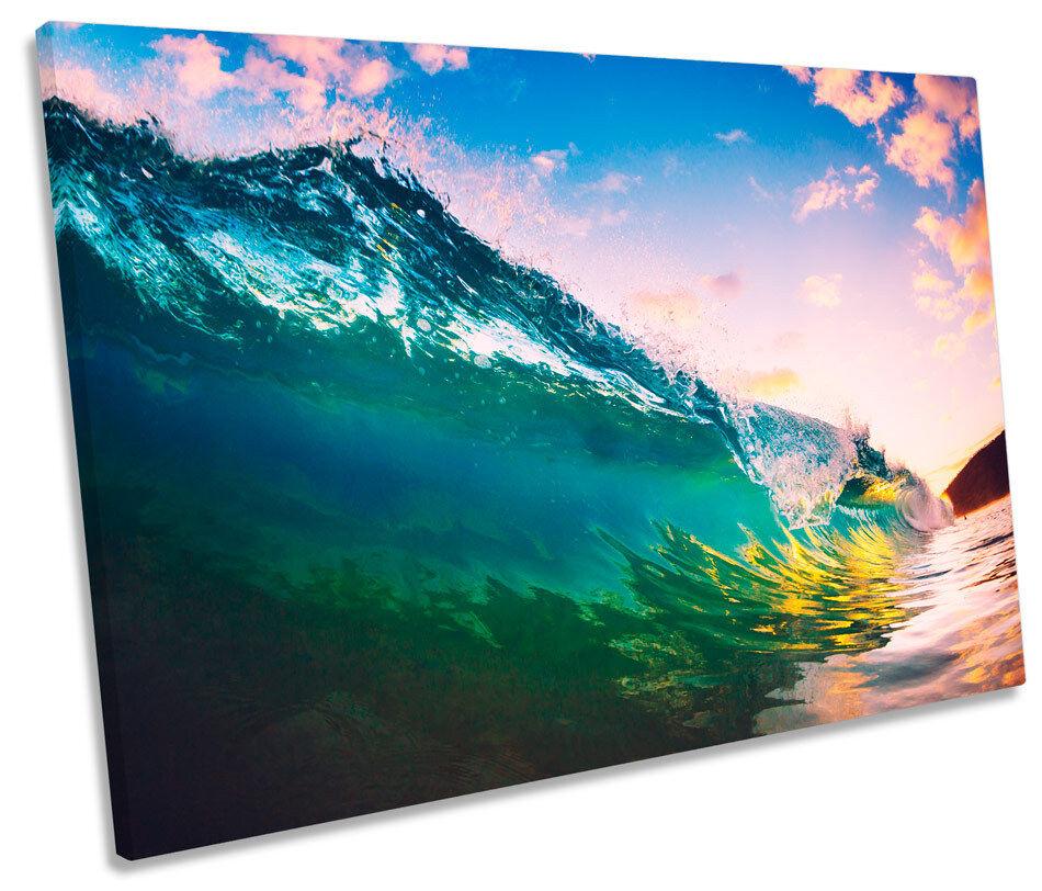 OCEAN WAVE SPIAGGIA TRAMONTO TELA SINGOLA WALL ART ART ART PICTURE PRINT 5f9b3c
