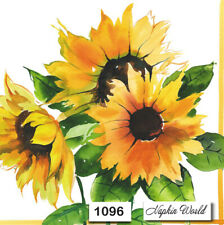 (1096) TWO Individual Paper Luncheon Decoupage Napkins - SUNFLOWERS FLOWERS
