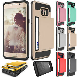 Slide-Card-Pocket-ShockProof-Rugged-Hybrid-Wallet-Case-Cover-For-Samsung-Galaxy