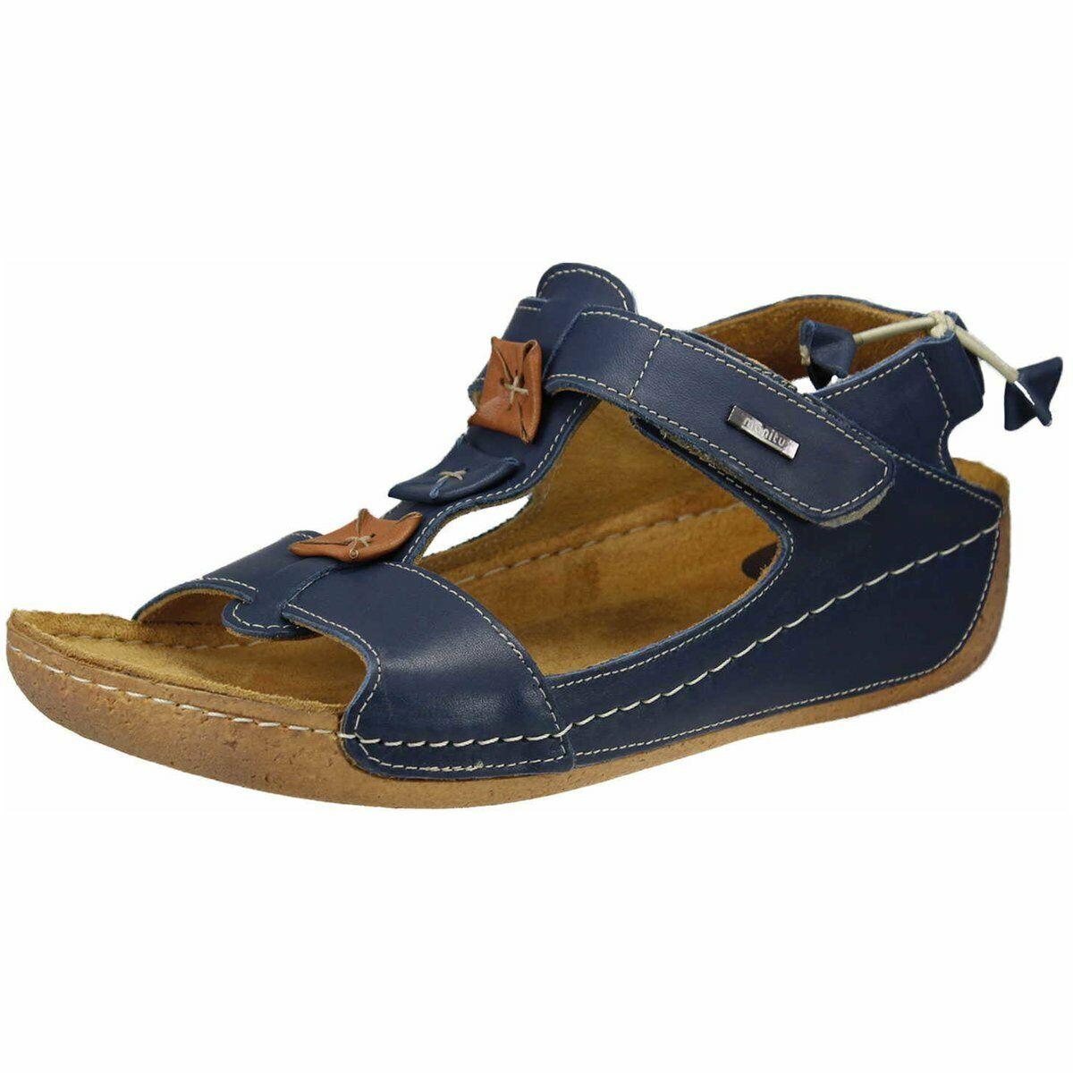 Manitu Damen Sandaletten blau (jeansblau-cognac) 910846-5 blau 682781