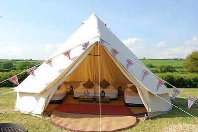 4m Bell Tent Outdoor Glamping Canvas Camping Sibley Tent for Family