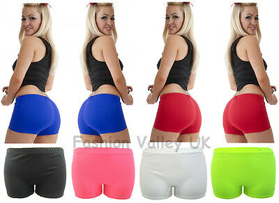 LADIES NEON PLAIN STRETCHY HOT PANTS SEXY SHORTS CLUBWEAR DANCE PARTY  SIZE 8-14