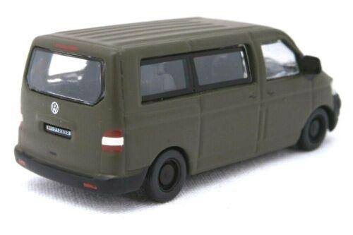 """SCHUCO Military 1:87//H0 PKW VW T5 Bus /""""Bundeswehr/"""" militärgrün #452642600"""
