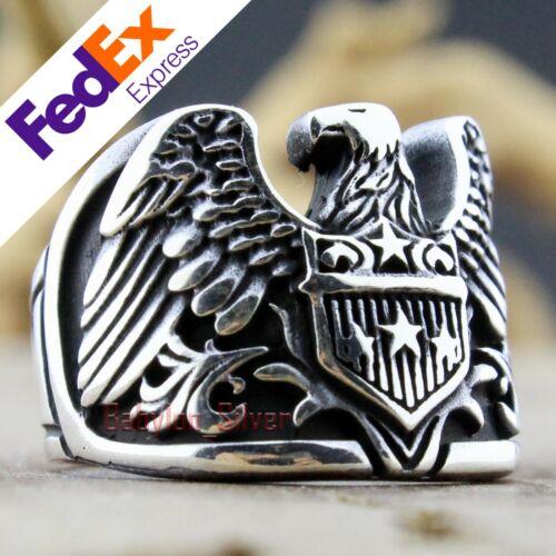 Eagle Design 925 Sterling Silver Gothic Biker Turkish Men/'s Luxury Ring All Size
