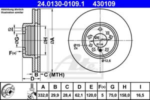 2x Bremsscheibe für Bremsanlage Vorderachse ATE 24.0130-0109.1