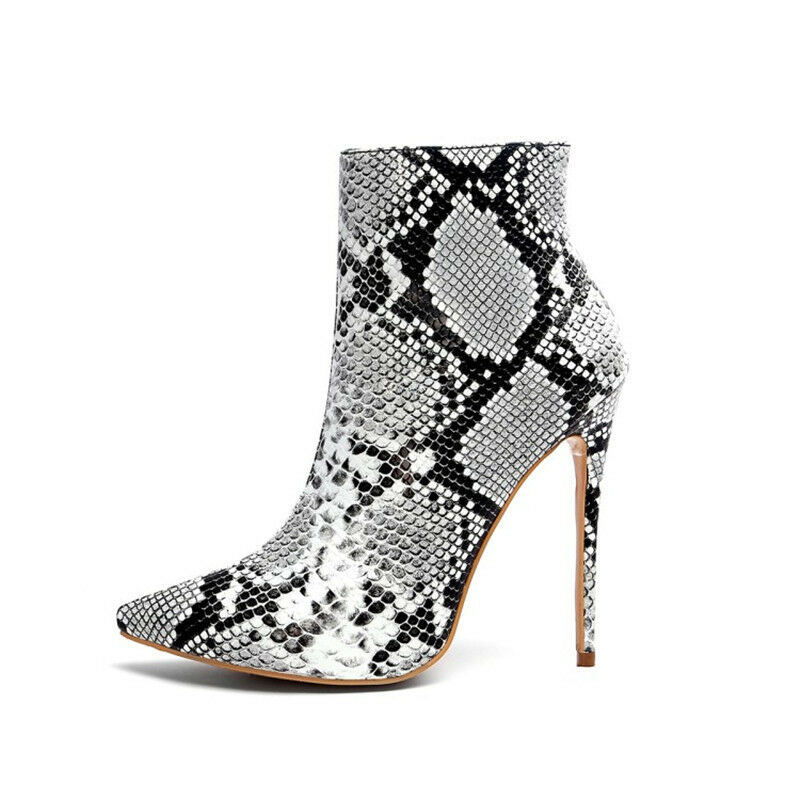 US 4.5-11.5 Womens Ankle Ankle Ankle Boots Snake Pattern Stiletto High Heels Fashion shoes b2aecd
