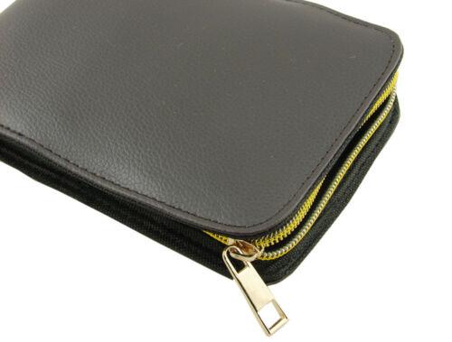 Black Color with Golden Zipper Leather Pen Case Fountain Pen Case for 12 Pens