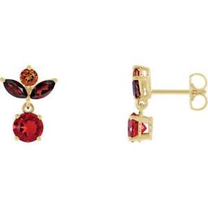 14k-Yellow-Gold-Fire-Opal-Multi-Gemstone-Earrings