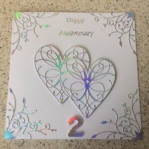 Image Is Loading Handmade Cotton Wedding Anniversary Card Hy 2nd