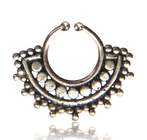 HANGING 16G SILVER BRASS FAKE SEPTUM 9MM RING DIAMETER NOSE TRIBAL DESIGN AFGHAN