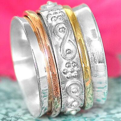 Sterling Silver 925 Spinning Ring Infinity Symbol Meditation Spin Spinner Co1