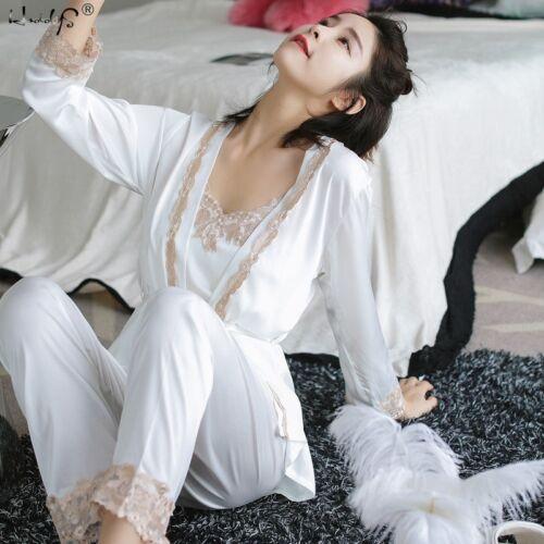 3PCS Women/'s Ladies Silk Satin Pajamas Set Pajamas For Women Set Sleepwear Gift