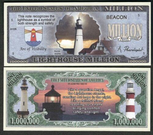 Lot of 25 Bills Lighthouse Million Dollar Bill Symbol of Strength /& Safety