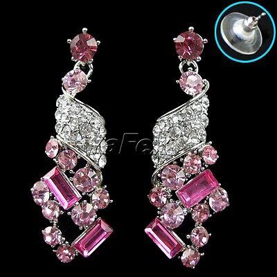New Women's Party Swarovski Crystal Rhinestone Earrings Necklace Jewelry Set