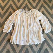 New ANTHROPOLOGIE Women's Boho White Gauze Flowy Peasant Lace Blouse Top MEDIUM