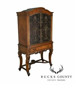 Details About Renaissance Revival 1920u0027s Carved Walnut Bar China Cabinet  With Iron Doors