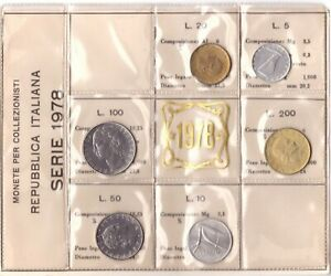1978 Italia Set Annuale Ridotto 6 Monete Fdc Bu