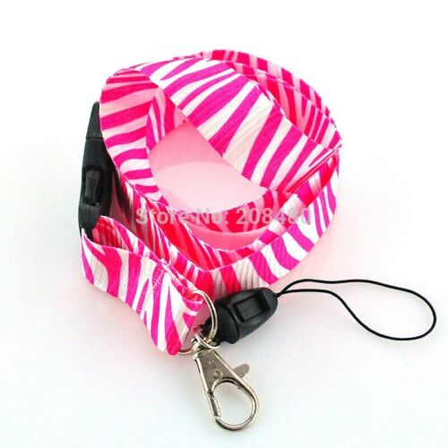 Pink and White Zebra Animal Print Effect Lanyard Keychain Doc Holder Brand New