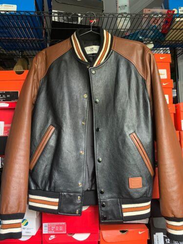 Coach Leather Varsity Thick Bomber Moto Jacket | B