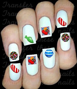 Candy-Crush-30-Autocollant-Stickers-ongles-nail-art-manucure-deco-water-decal