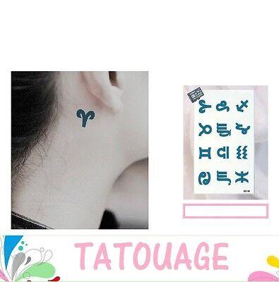 Carte de Tatouage temporaire 12 SIGNES DU ZODIAQUE tatouage décalcomanie HC-18