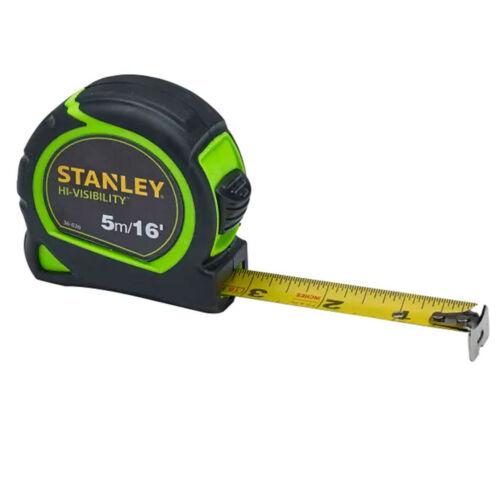 environ 4.88 m STANLEY HI-VIS 5 M 16 Ft Tylon Ruban à mesurer Vert verrouillable avec clip ceinture
