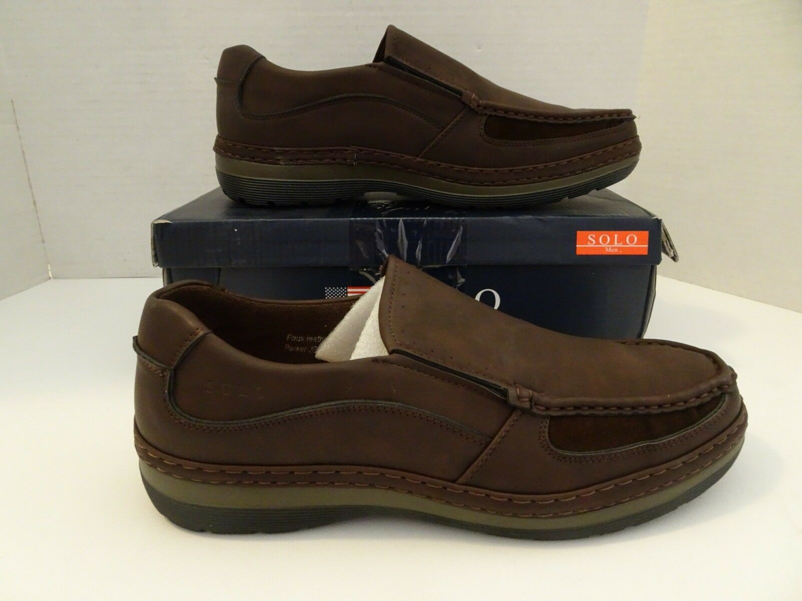 SOLO  Men's  Size 12 Brown Loafers  Slip On shoes Parker-300