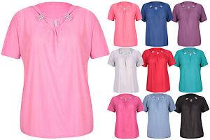 donna-manica-corta-da-Ruche-perline-pieghe-maglia-t-shirt-top-taglie-forti