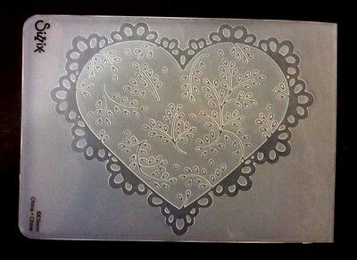 Sizzix Large Embossing Folder SCALLOP HEART DOILY  fits Cuttlebug & Wizard