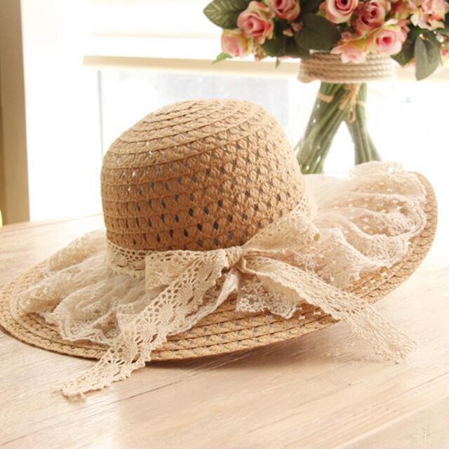 Women Straw Hat Lace Solid Fringe Foldable Wide Brim Floppy Caps Beach Sun  Hats eea6c160097